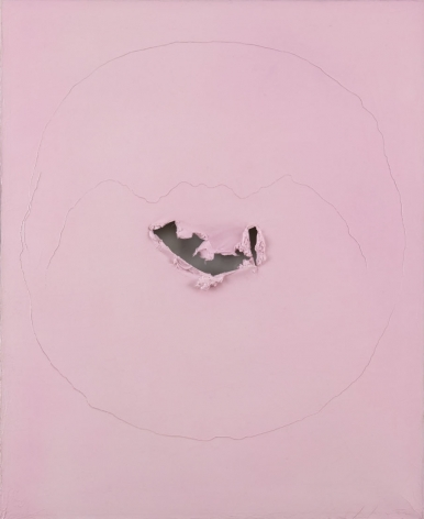 pink painting by lucio fontana with holes