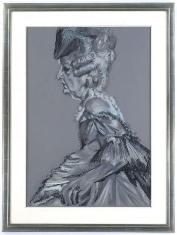 grey portrait of an elderly woman in profile by rachel feinstein