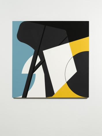 abstract, blue, yellow, white and black artwork by serge alain nitegeka