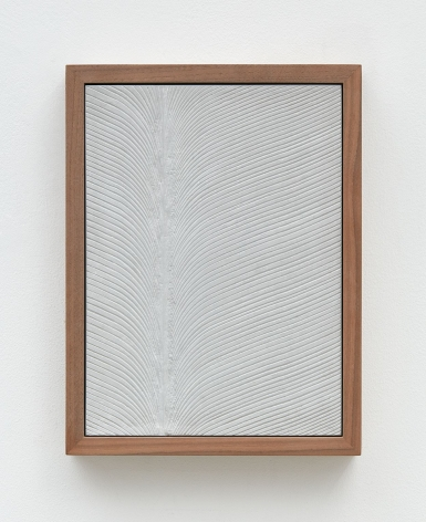 Untitled (Four Part Etched Plaster), 2015 [detail 3 of 4], Pigmented hydrocal in four walnut frames
