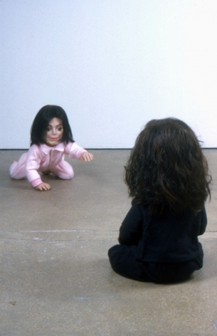 sculptures of michael jackson and charles manson by john waters
