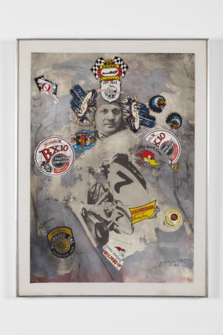 a mixed media contemporary artwork with car racing motifs by salvatore scarpitta