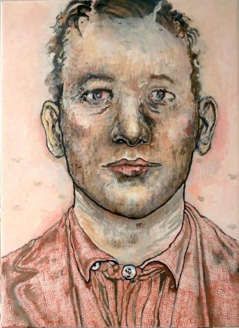 pink portrait of a man by hannah van bart