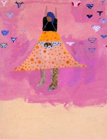 purple scene with woman in polka dot skirt by chinatsu ban