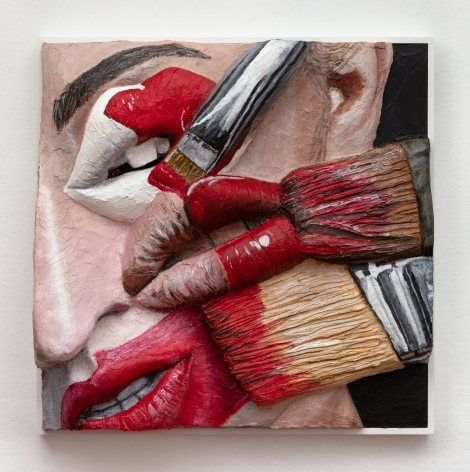 Extruded painting of paint brushes and an eye with lips by Gina Beavers