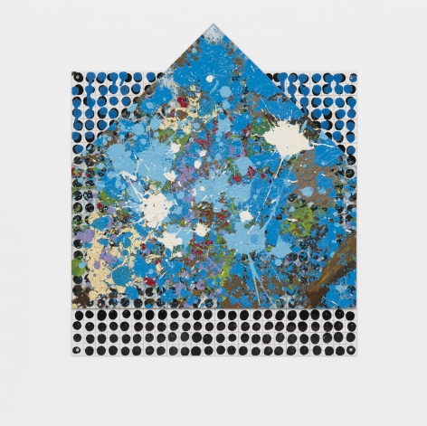 Glass House on Plate, 1999-2000, Enamel and oil over glass on silkscreen grid, baked enamel, steel plate