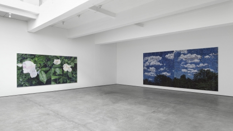 an installation view of an exhibition in a NYC gallery of the art of Jennifer Bartlett