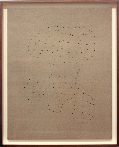 beige painting by lucio fontana with constellation of holes