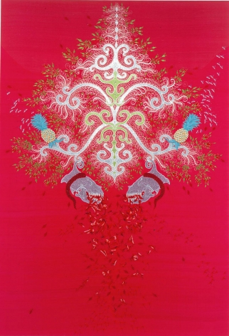 red embroidery with abstract designs by angelo filomeno