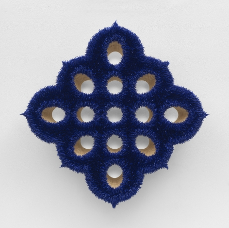 a cobalt spore or floral painting by donald moffett for sale in a new york city gallery