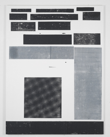 black and white grid painting by melissa gordon