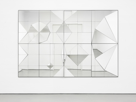 a mirror artwork of geometric shapes by female artist claudia wieser