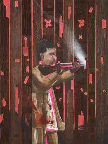 a painting of a person shooting a guy by barnaby furnas in a contemporary art gallery
