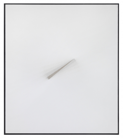 a minimalist white painting by Matthias Bitzer on view at an art gallery in Chelsea