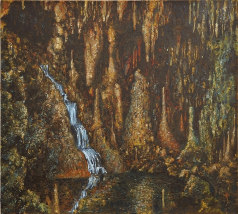painting of a waterfall in a cave by jp munro