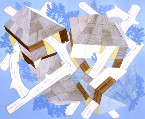 Abstraction by Kevin Appel with logs and blue and yellow geometrics