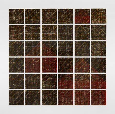 Houses: Thin Lines, 1998, Enamel over silkscreen grip on baked enamel, steel plates