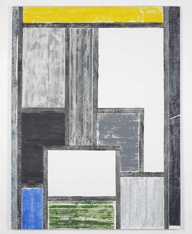 yellow, green, black, and white grid painting by melissa gordon