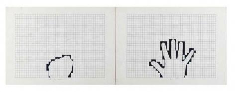 Mano aperta pugno chiuso, 1974, India ink, pencil on paper