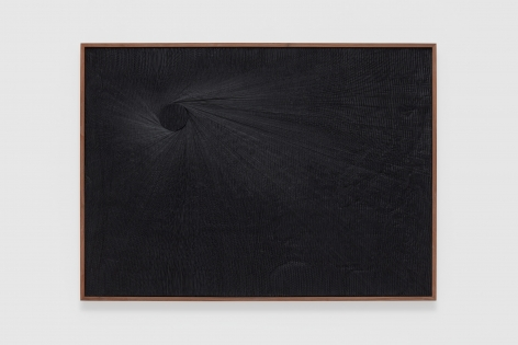 a dark black painting of cut plaster by anthony pearson