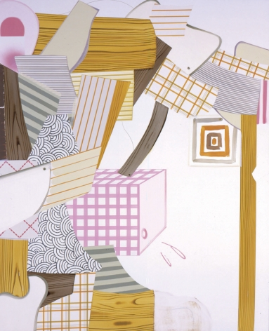 abstract painting with logs and pink and blue patterned shapes