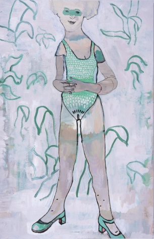 a painting of a girl by Hannah van Bart for sale at her gallery in new york city
