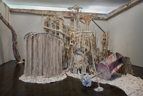 a contemporary art installation by Diana Al-Hadid exhibited in an art gallery
