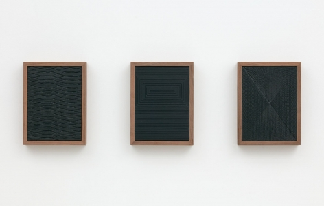 Untitled (Etched Plaster Triptych), 2015, Medium coated pigmented hydrocal in three walnut frames