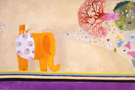 scene with elephant, tree, and floating objects by chinatsu ban