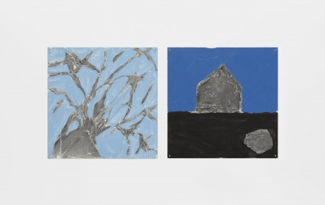 Tree, House, Shrub, 2000, Oil and sculp-metal over silkscreen grid on baked enamel, 2 steel plates