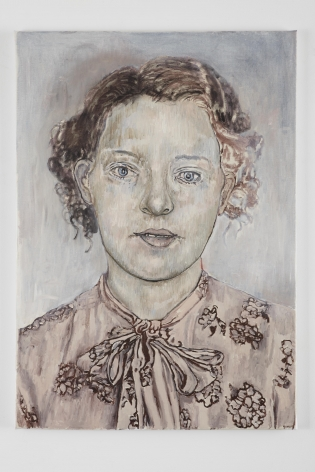 portrait of a woman with a bow at her neck by hannah van bart