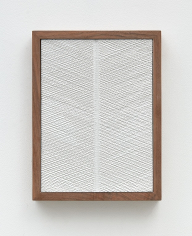 Untitled (Four Part Etched Plaster), 2015 [detail 1 of 4], Pigmented hydrocal and medium coated pigmented hydrocal in four walnut frames