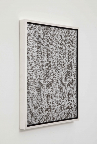 Sound of Silver,2014 [side view], Leather on canvas in gold-leafed wood frame