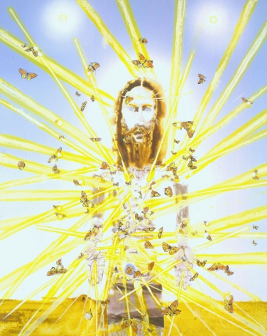 portrait of christ with yellow brushstrokes by barnaby furnas