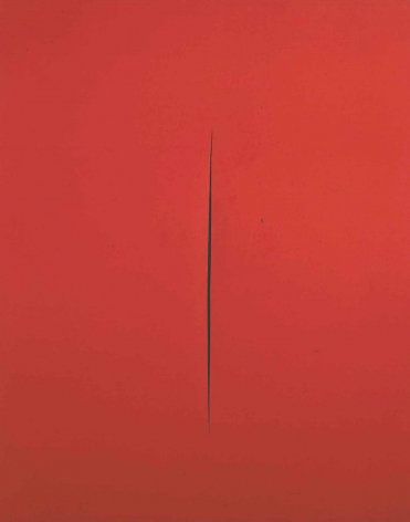 red painting by lucio fontana with slit