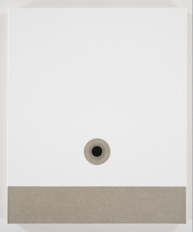white and beige linen sheet with hole in center by donald moffett