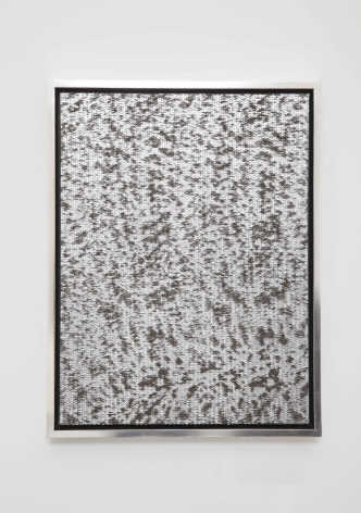 Sound of Silver, 2014, Leather on canvas in gold-leafed wood frame