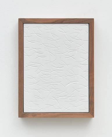 Untitled (Four Part Etched Plaster), 2015 [detail 3 of 4], Pigmented hydrocal and medium coated pigmented hydrocal in four walnut frames