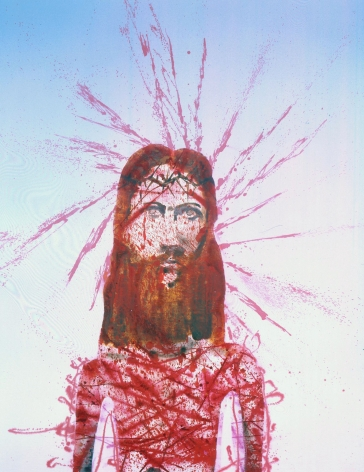 portrait of jesus with crown of thorns and blood by barnaby furnas