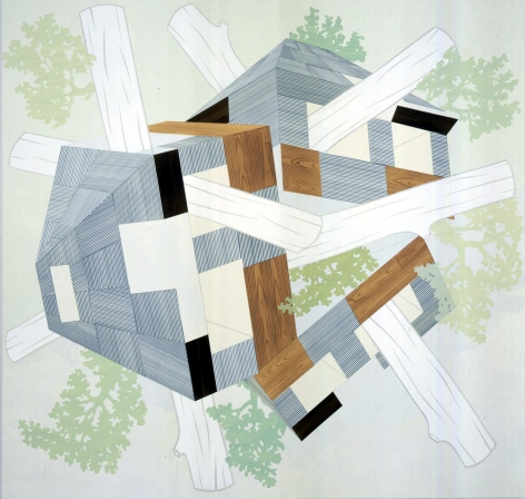 Abstraction by Kevin Appel with logs and green, grey and off white geometrics