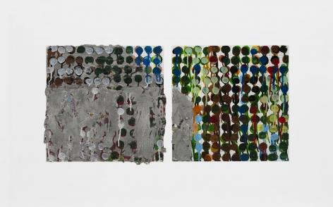 House Section, 2000, Enamel over sculptmetal on silkscreen grid on baked enamel, steel plate