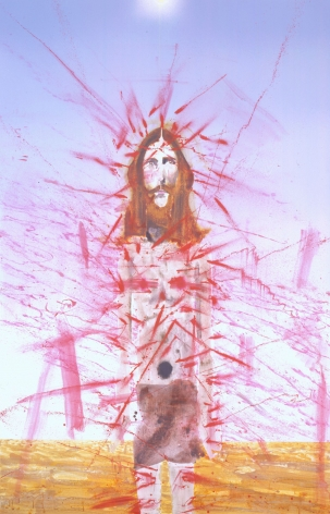 portrait of christ with red brushstrokes by barnaby furnas