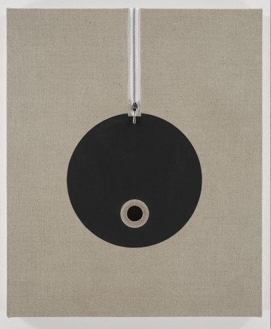 linen panel zipper and black circle by donald moffett