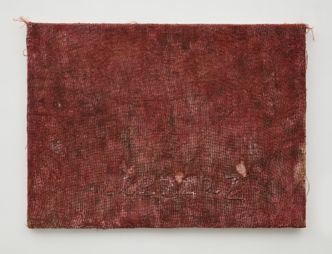 Jay Heikes, Z painting dyed red burlap