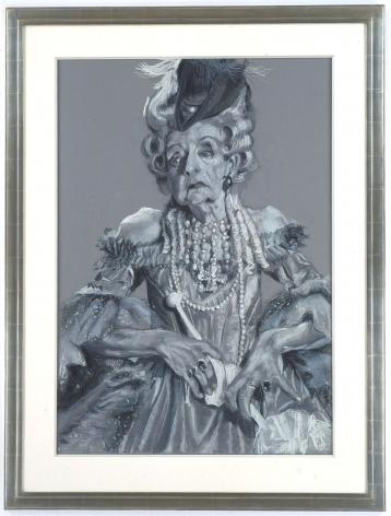 grey portrait of an elderly woman by rachel feinstein
