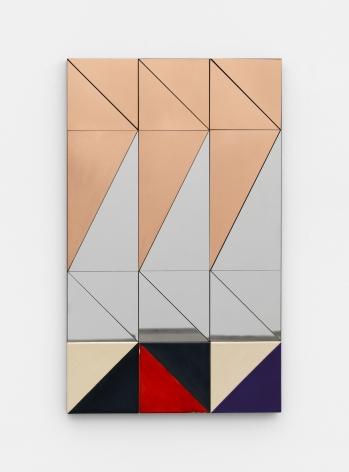 Untitled, 2017 Copper, mirror-polished stainless steel, and ceramic on MDF