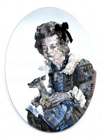 blue roundel of elderly woman with dog by rachel feinstein