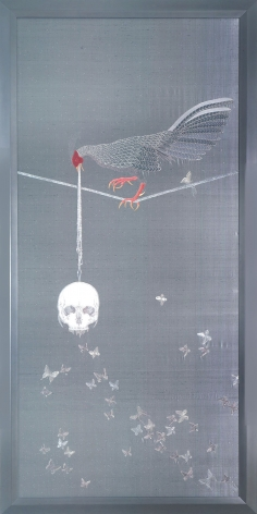 grey embroidery with rooster and skull by angelo filomeno