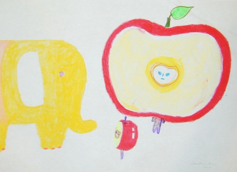 yellow elephant and anthropomorphized apple