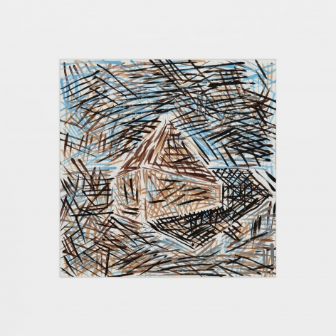 Hatched painting of a house